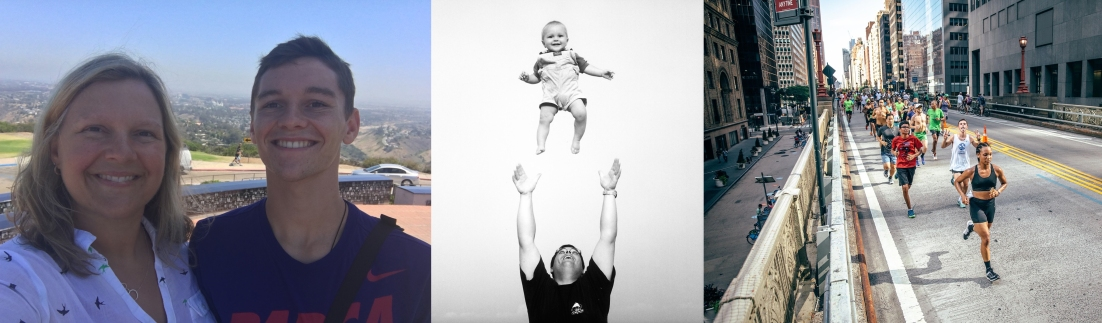 With me in San Diego, 2016; at the beach, flying with dad in 1999; running in the NYC Summer Streets long run in 2016.